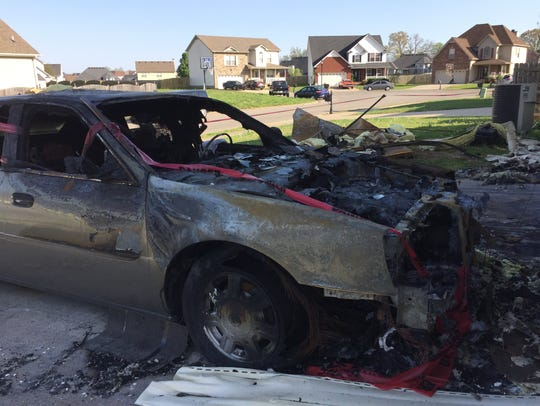 Both of the Hoods' vehicles were destroyed in the fire.