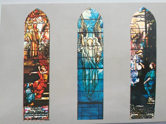 Windows depitcting the resurrection, including the one at left designed by Tiffany, which were destroyed by a fire in 2016 at First Presbyterian Church in Englewood, N.J.