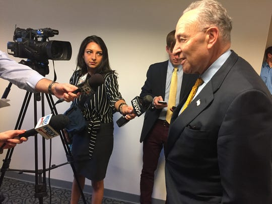 U.S. Sen. Charles Schumer addresses local media April