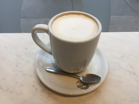 A cafe au lait at Cortado Coffee and Cafe in Iowa City on April 5, 2017.