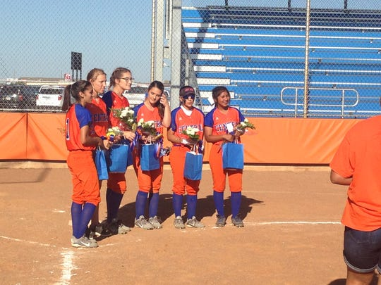 Central's senior softball players are honored following their final home game Tuesday, April 18, at the Central Softball Complex.
