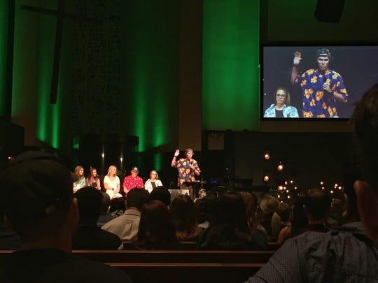 Jake Landon speaks at a memorial service for Keaton