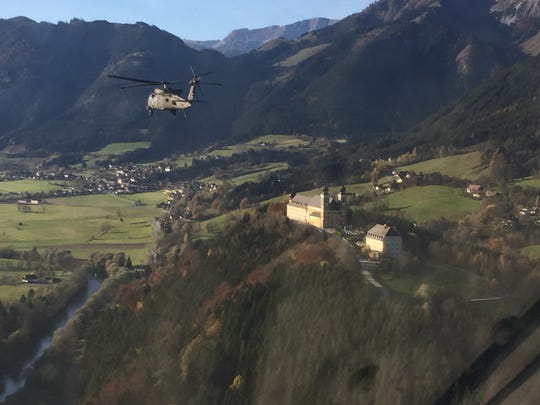 A UH-60 Black Hawk from 3rd Battalion, 501st Aviation Regiment flies over Germany during a training exercise.