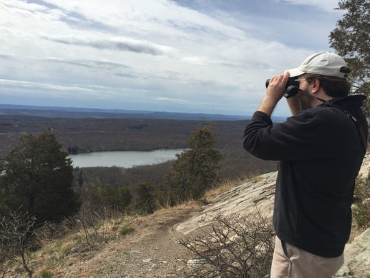The Nature Conservancy's Eric Olsen looks east from the Kittatinny Ridge toward Fairview Lake and undeveloped land in Sussex County that could serve as a protected corridor for endangered bobcats.