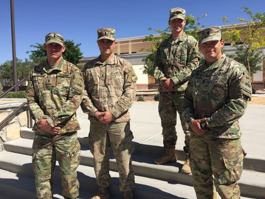 From left, 1st Lts. Devin Perlee, James Atkins, Jonathan Reimer and Andrew Fletcher represented Fort Bliss and the 1st Armored Division at the Best Ranger Competition at Fort Benning, Ga.