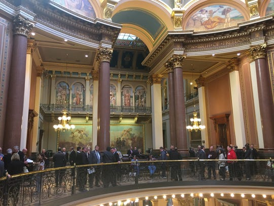A busy day inside the Iowa Capitol during the 2017