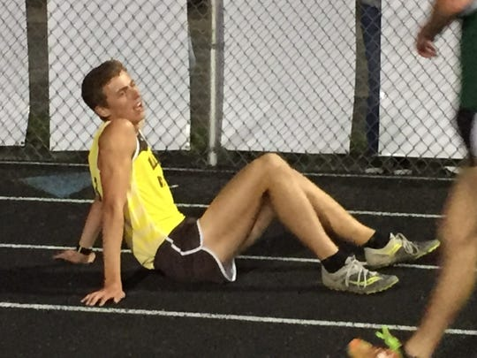 Buckeye Valley junior Zach Kreft rests after winning