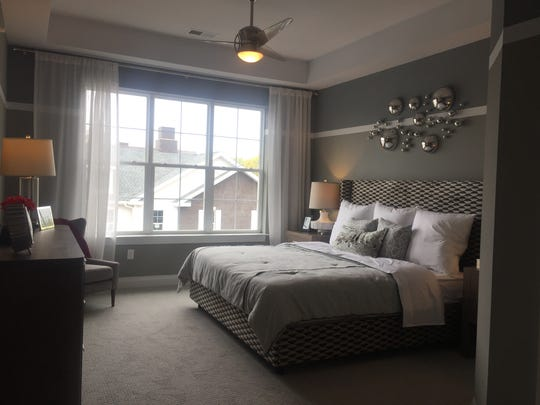 The master bedroom in a two-bedroom, two-bath unit at Haddon Towne Center.