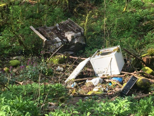 Hefty garbage dumped in a ravine on the east end of Mill City. The city encourages residents to take part in its annual spring cleanup day, which is May 20.