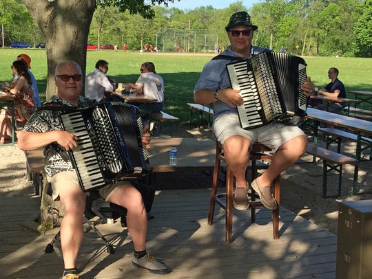A polka band entertains visitors at the Estabrook Beer