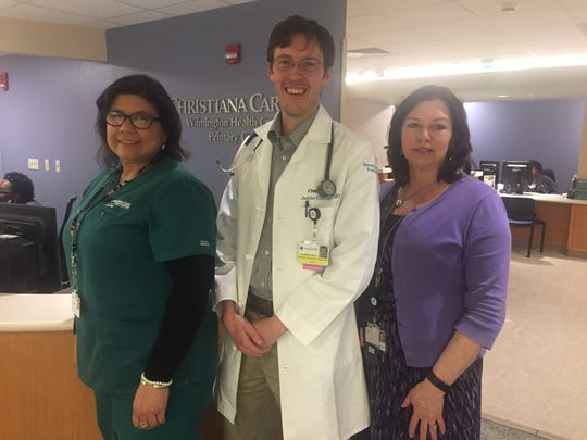 From left to right: Christiana Care social worker Sandra Tineo, Dr. Dr. Justin P. Eldridge and director of social work at Christiana Care Linda Brittingham.