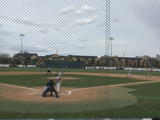 Reno senior Christian Chamberlain bats against Reed on Saturday at Reno.