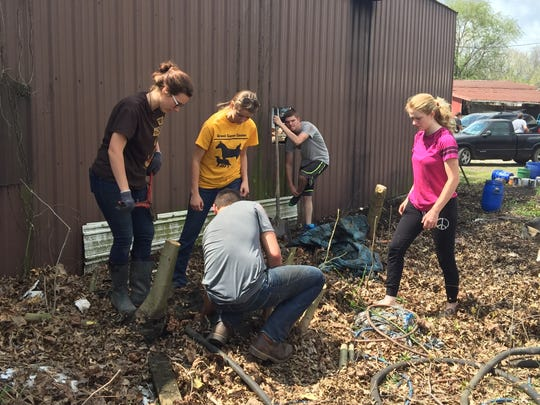 Students from Grant Career Center spend a day working