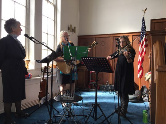 Congregation Sons of Israel AlleZingun Klezmer band played and sang during the annual Holocaust Memorial Service Sunday in Chambersburg