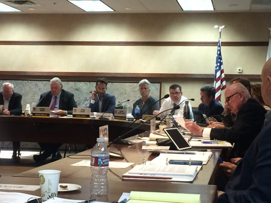 Rancho Mirage City Council member Dana Hobart, at right,