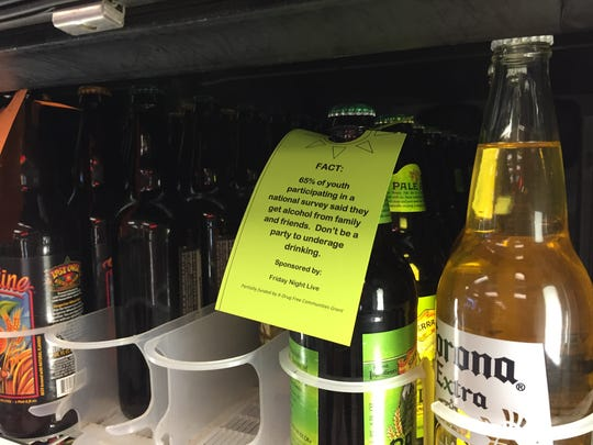 One of the advertisements about the dangers of teen drinking students placed on alcohol at Win River Mini-Mart.