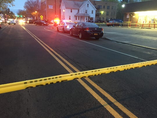 Rochester police at the intersection of Thurston Road and Flanders Street for a fatal shooting Tuesday night.