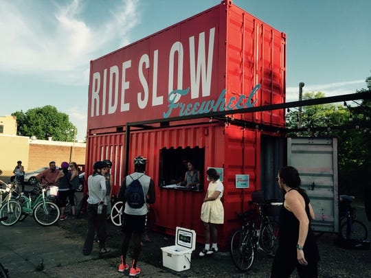 A new storage locker houses the fleet of restored bikes for the Freewheel Slow Ride.