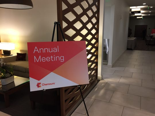 A sign announcing Chemours' 2017 annual meeting.