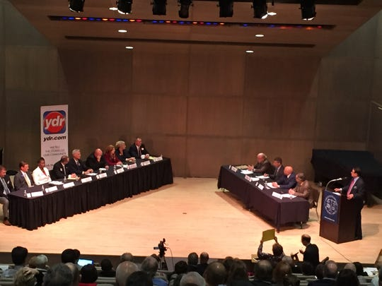 Candidates for judge fielded questions Wednesday night at York College. Christopher Dornblaser photo.