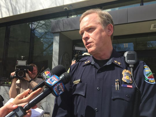 South Burlington Police Chief Trevor Whipple speaks to members of the media outside U.S. District Court in Burlington in April 2017.