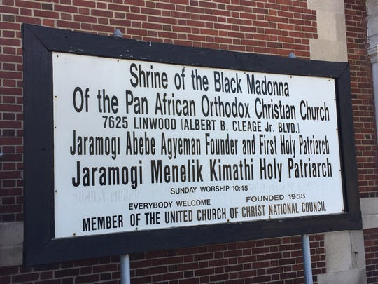 Sign outside the Shrine of the Black Madonna church