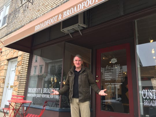 Scott Broadfoot stands in front his Broadfoot and Broadfoot art gallery on Main Street in Boonton.