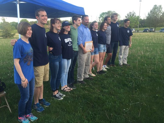 GHS students with Brent Sodergren of the U.S. Fish and Wildlife Service at the April 26 Land Lab groundbreaking.