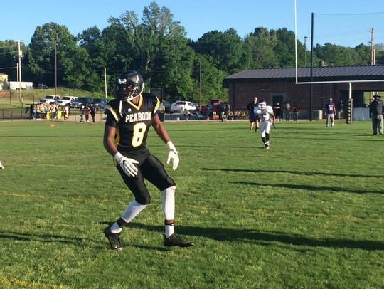 Khance Hill runs a short out route during the scrimmage