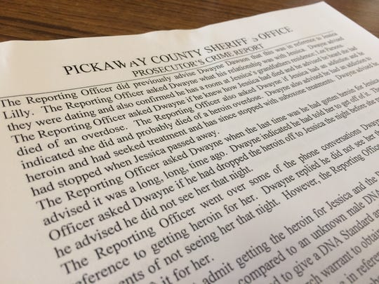 """The Pickaway County Sheriff's Office crime report to the prosecutor on the overdose death of Jessica Lillie summarizes their findings, including an interview with Dwayne Dawson denied seeing Lillie the night of her death and said he hadn't provided her drugs in a """"long, long"""" time."""