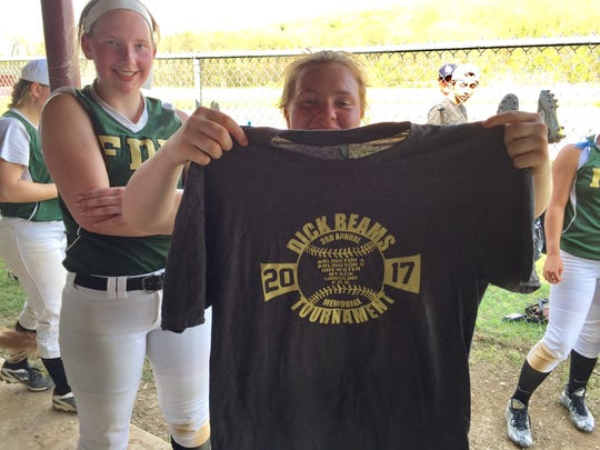 Franklin D. Roosevelt's Chloe Moretti shows off a Dick Beams Memorial Tournament T-shirt