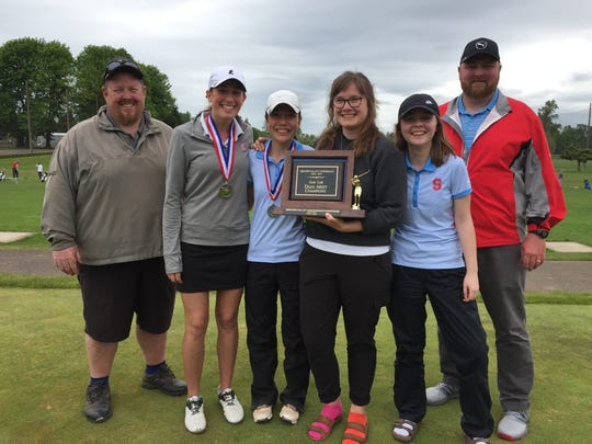 The South Salem girls golf team in the final round of the GVC district tournament at Trysting Tree included from left, head coach Brian Eriksen, medalist Ellie Slama, runner-up Ashley Zhu, Makenah Gentry, Blythe Surritt and assistant coach Jeremy Belden.
