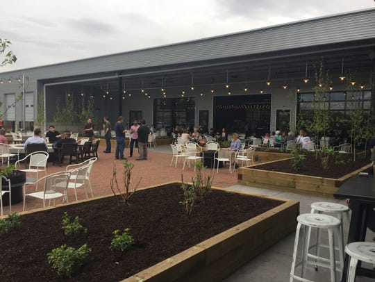 The outdoor patio space at Big Grove Brewery on April