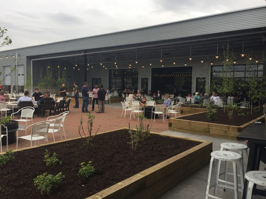 The outdoor patio space at Big Grove Brewery on April 25, 2017.