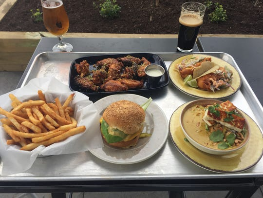 Various eats and drinks at Big Grove Brewery and Taproom