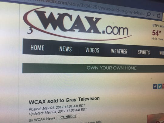 A screen grab of the WCAX announcement that the local CBS news affiliate is selling up in a tough market, May 4, 2017.