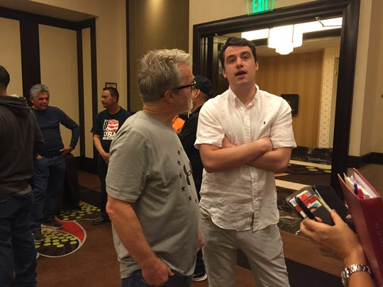 Freddie Roach chats with friends at Thursday's weigh-in at the Atlantis.
