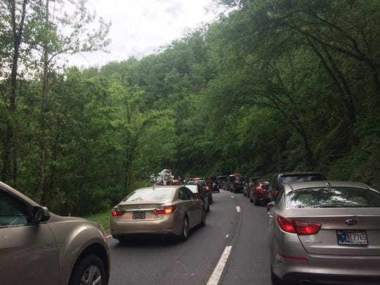 Traffic is gridlocked on the Spur between Pigeon Forge