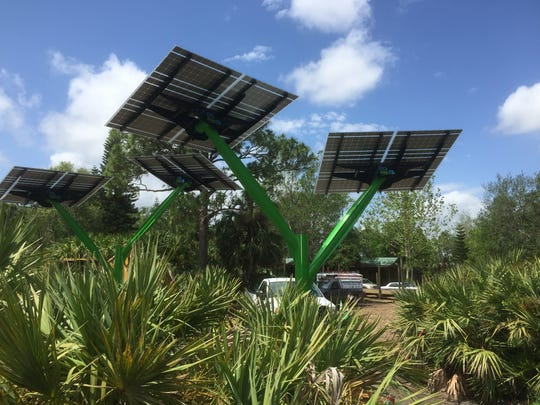 "Florida Power & Light Co. recently installed ""solar trees"" at the Brevard Zoo for its  ""Lands of Change: Australia and Beyond"" exhibit."
