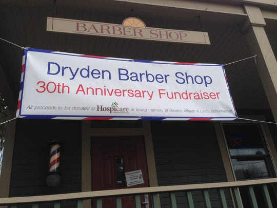 Sunday's 30th anniversary celebration at the Dryden Barber Shop is a fundraiser for Hospicare.