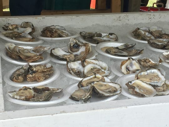 Oysters were a popular item at the raw bar at the 49th