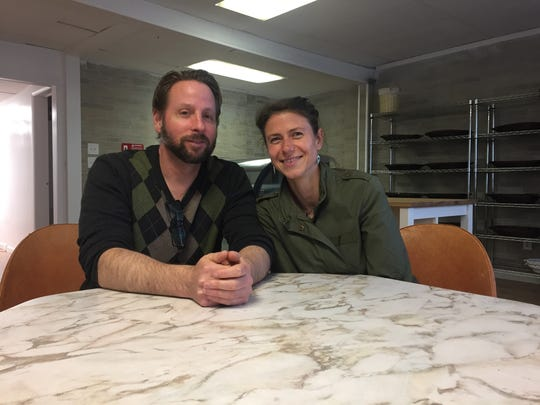Stephen and Franziska Kramer sit in their new bakery,