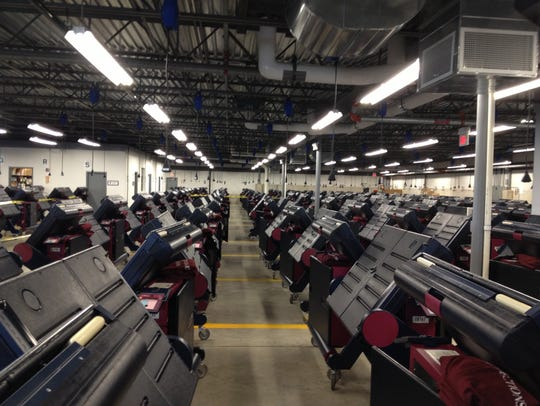 Voting machines stored in a Morris County warehouse