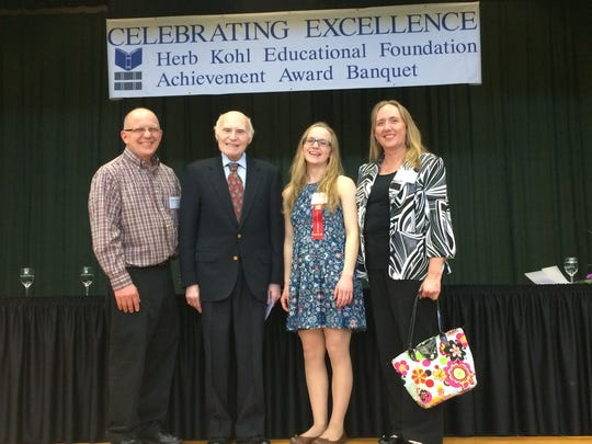 Ken and Kaye Schmitz stand with Herb Kohl and their daughter, Becky Schmitz, at the Herb Kohl Educational Foundation 2017 Recognition Banquet on April 23.