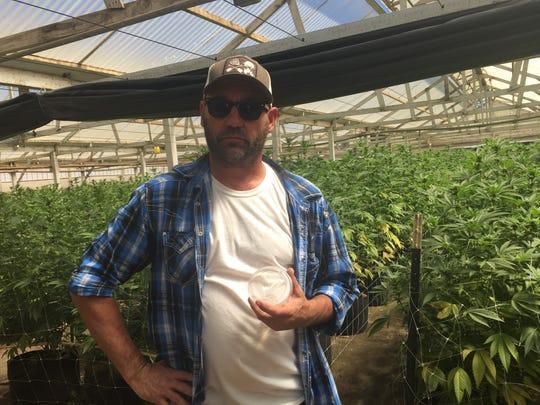 Cannabis consultant Tod Williamson at a cannabis farm in Salinas