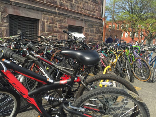 About 340 bikes were sorted for donation on May 11 at Sarah Jane Johnson Memorial United Methodist Church in Johnson City.