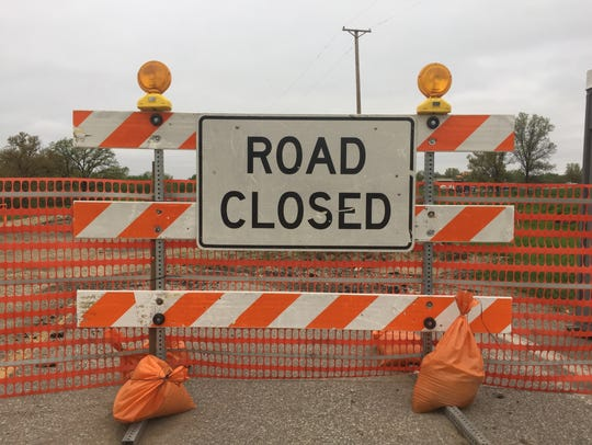 A road closed sign.
