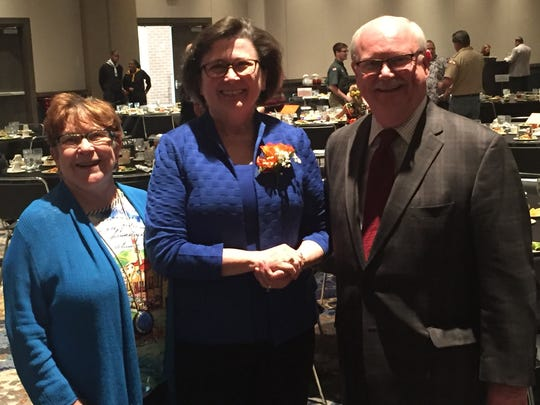 Linda Bennett poses with Barbara and Brian Williams, who were recent recipients of the Evansville Rotary Club's Civic Award.