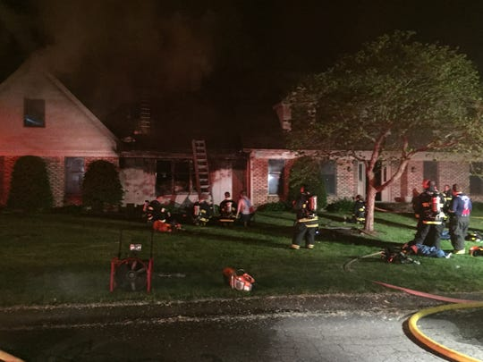 A fire late Tuesday night severely damaged a home in Yorktown's Deerbrook Estates subdivision.