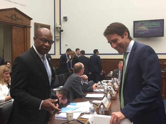 Hattiesburg Mayor Johnny DuPree chats with Rep. Garret Graves, R-La., chairman of the Transportation and Infrastructure's subcommittee on Water Resources and Environment before Thursday's hearing.